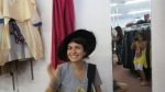 trying hats on with my niece at out of the closet store